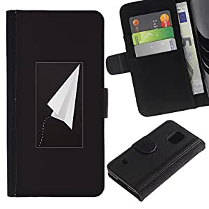 Billetera de Cuero Caso Titular de la tarjeta Carcasa Funda para Samsung Galaxy S5 V SM-G900 / Plane Black Freedom Minimalist / STRONG