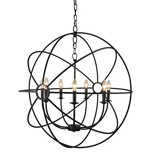 (Yosemite Home Decor SCFP2005-7-RS   7 Lights Mini Chandelier, Rustic Finish, Black)