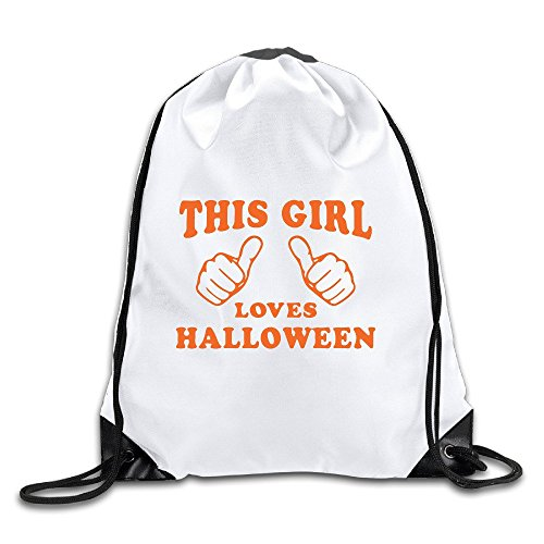 Nhl Halloween Costumes 2016 (Runy Custom This Girl Loves Halloween Adjustable String Gym Backpack Travel Bag White)