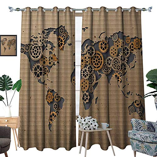 RenteriaDecor Modern Window Curtain Fabric Ancient Old Hipster Contemporary Image of World Map with Clock Wheel Art Print Drapes for Living Room W84 x L96 Grey and Brown