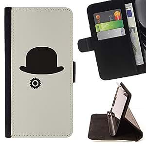 Momo Phone Case / Flip Funda de Cuero Case Cover - Sombrero Gris Clever Minimalista Negro - Sony Xperia M2