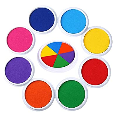 Set of 9 Multicolored Non-Toxic Washable Finger Ink Pads Inkpad Rainbow Craft DIY Colorful Inkpad Stamp Sealing Decoration