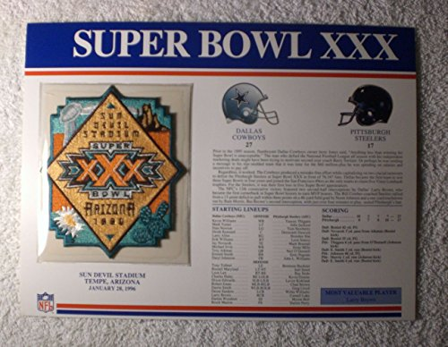Super Bowl XXX (1996) - Official NFL Super Bowl Patch with complete Statistics Card - Dallas Cowboys vs Pittsburgh Steelers - Larry Brown MVP (Steelers Super Bowl Patches compare prices)