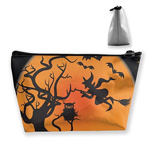 MODREACH Halloween Witches Pumpkins Bats Owl Moon Pencil Case Pen Zipper Bag Coin Organizer Makeup Costmetic Storage Bag Pouch