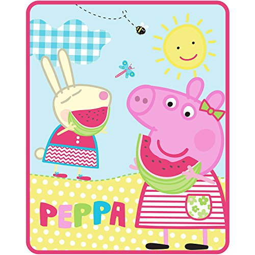 (Cute Cheery Soft Durable And Machine Washable Peppa Pig Sunshine 40x50 Silktouch Throw - PERFECT FOR THAT PEPPA PIG FAN!)