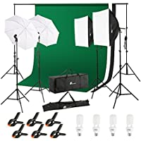 10x6.5 FT Photography Background Support System, Houzetek 800W 5500K Umbrella Softbox Lighting Kit for Photo Studio Product, Portfolio and Video Shooting Photography Studio