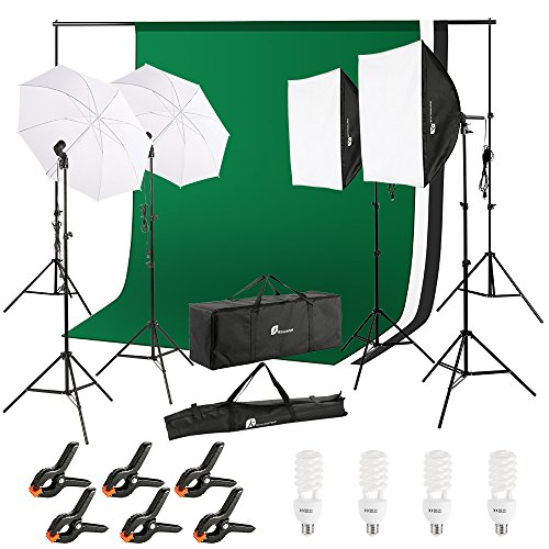 Photography Video Studio, 10x6.5 FT Background Support System and 800W 5500K Umbrella Softbox Continuous Lighting Kit for Photo Video Studio Shooting, Green White Black Muslin Backdrop Screen Stands from Houzetek