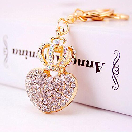 Jzcky Shzrp Love Heart and Crown Crystal Rhinestone Keychain Key Chain Sparkling Key Ring Charm Purse Pendant Handbag Bag Decoration Holiday Gift