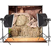 MUEEU 8x8ft Rustic Barn Backdrop Village Farm Vintage Hay Stack Photo Photography Props for Photographers Countryside Rural Scenery Portraits