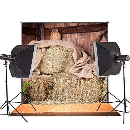 Outlet MUEEU 8x8ft Rustic Barn Backdrop Village Farm Vintage Hay Stack Photo Photography Props For Photographers