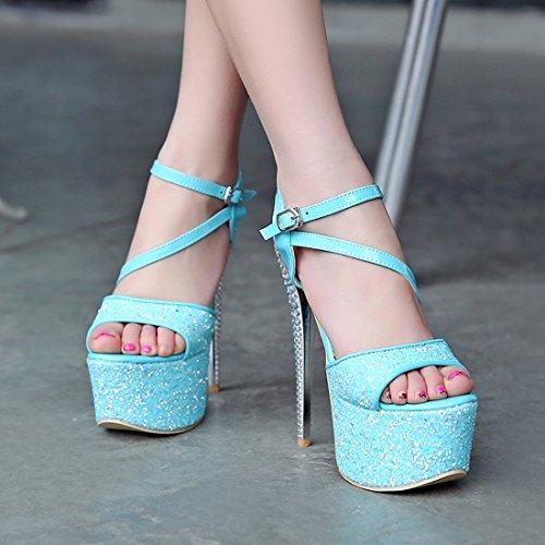 Sandalias verano High de YE plataforma azules con de Heels lentejuelas Women Super Ipqwxf8
