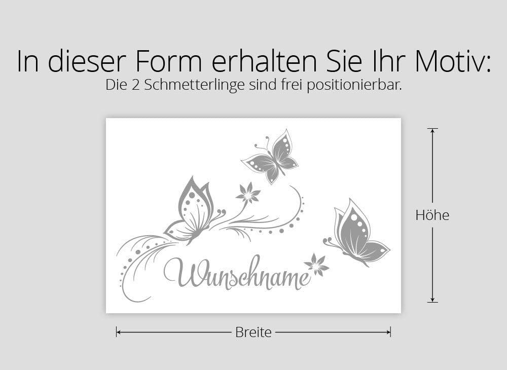 Wandaro Wandtattoo Wunschname mit Bl/üten /& Schmetterlingen I azurblau BxH 41 x 27 cm I Kinderzimmer Wandsticker Wandaufkleber Aufkleber Sticker Baby W3275