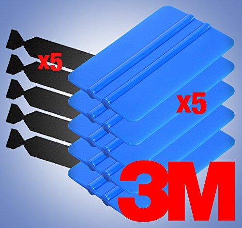 VViViD 5-Pack 3M Blue Squeegees Flexible Plastic Applicator Edge Plus 5X Black Felt Scratch-Proof Adhesive Decal Vinyl Wrap Tool Kit -