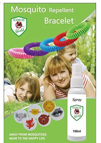 (Coco Shield 12 DEET-Free Mosquito Repellant Bracelets with 12 citronella Mosquito Repellant Patches and 100 ML Naturel Mosquito Repellant)