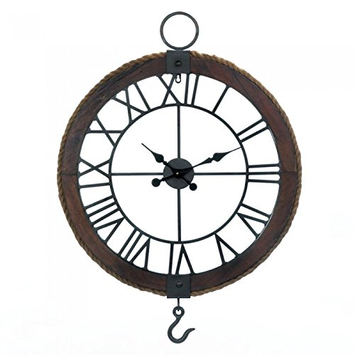 Smart Living Company Industrial Round Wall Clock, Brown