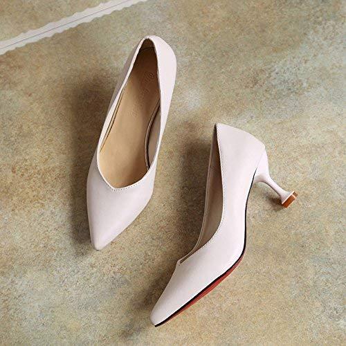 Eeayyygch Eeayyygch Eeayyygch Gericht Schuhe Sharp Mund High Heels Schuhe Frau flachen Mund Einzelne Schuhe Frau fein mit der Mitte mit den Damenschuhen (Farbe   EU 40, Größe   rot 8CM) fcf065