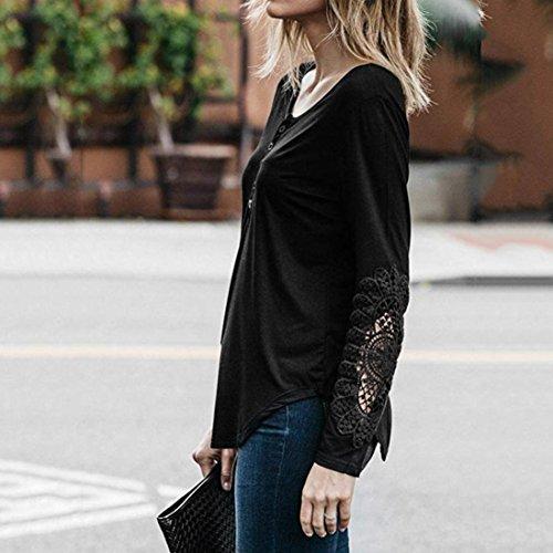 Chemise Shirts Noir T Longues Bringbring Tops Femme Manches Blouse Laches Dentelle wXR771