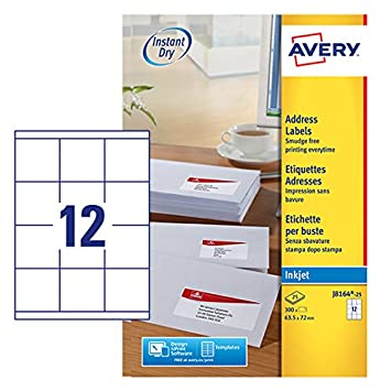 Avery J8164-25 Self-Adhesive Address/Mailing Labels, 12 Labels per A4 Sheet