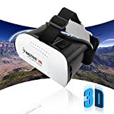 Insten [Adjustable] 3D Glasses Virtual Reality Headset VR BOX Google Cardboard fit Samsung S7 Edge, iPhone SE/ 6/6s Plus, Smartphones within 4.7 - 6 inch perfect for 3D Movies/Games, White/Black