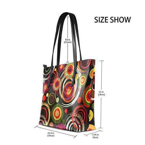 BENNIGIRY Colorful Shoulder Handle Tote Circles Top Bags Large Handbag Women Pattern rRwAq7r