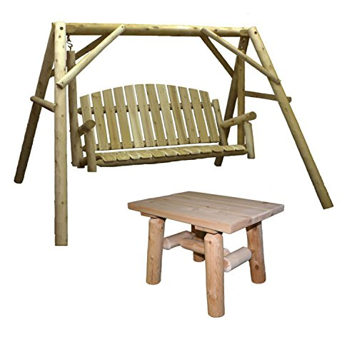 Cedar Set Coffee Table - Lakeland Mills Country Cedar Outdoor Porch Swing and Stand Set with End Table