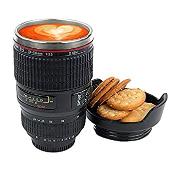 Maxed Camera Lens Thermos Stainless Steel Mug for Coffee with Lid for cookies