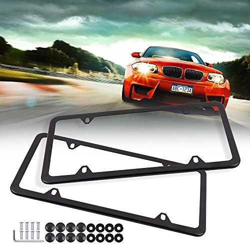 ECCPP License Plate Frame Universal License Plate Covers Protect Plates with Screws for US Vehicles (2Pcs 4 Holes Black)