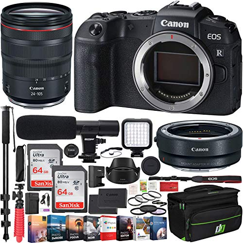 Canon EOS RP Full-Frame Mirrorless Digital Camera Body with RF 24-105mm F4 L is USM Lens Kit and EF-EOS R Adapter & 128GB Memory and Deco Gear Case Extra Battery Microphone Editing Bundle