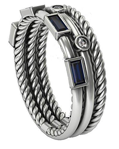 David Yurman Gold Ring (Designer Inspired Novella Three-Row Ring in Created Blue Sapphire with VVS1/D Lab Diamonds (White Gold))