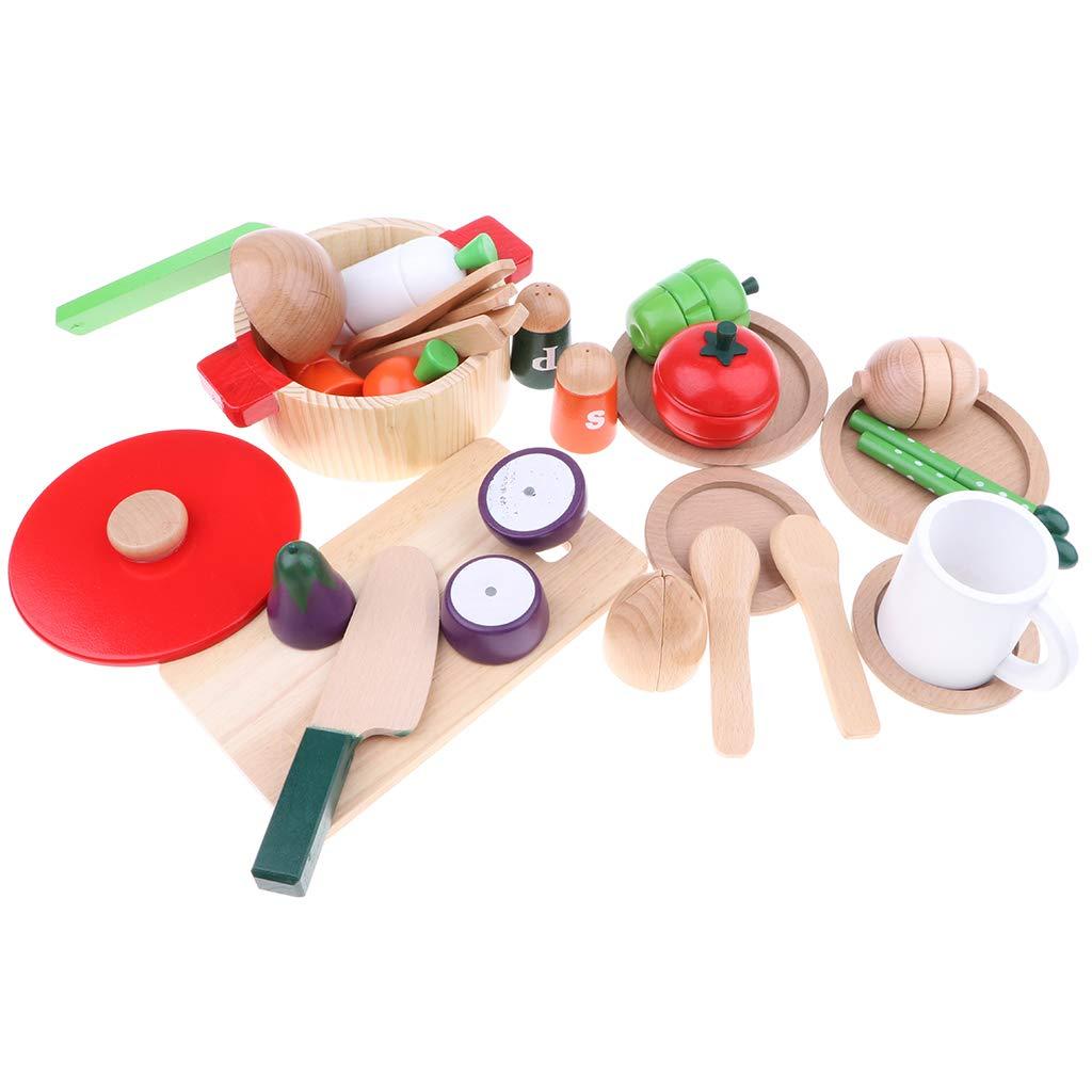 D DOLITY Kinderküche Schneiden Obst Gemüse Lebensmittel Küchenspielzeug Pädagogisches Rollenspielzeug A - 22pcs