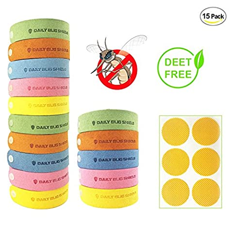 Mosquito Repellent Bracelet,Coniso 15pcs Insect & Bug Repellent Bands with 6 Free Mosquito Repellent Patches, 100% Natural, Deet-Free & Non-Toxic, Indoor Outdoor Protection for Kids & (Mosquito Repellent Camping)