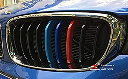 3 Colors Front Grille Badge Insert Trim Strips Grill Cover Decor For 3 Series GT F34 2013-2017 11 Grilles