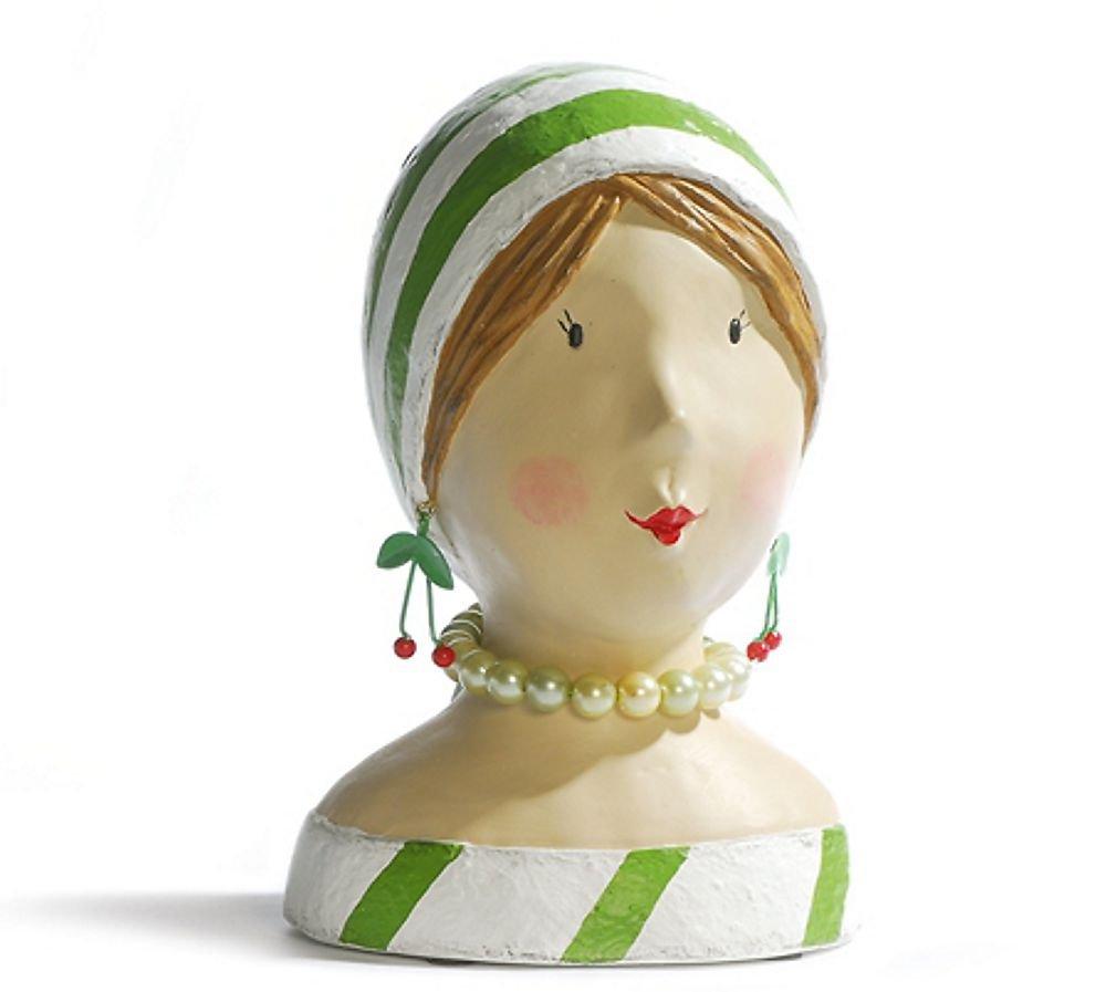 ESPOSITORE Deko testa testa di donna Lady testa con strisce verdi Busto Figura Baden Import