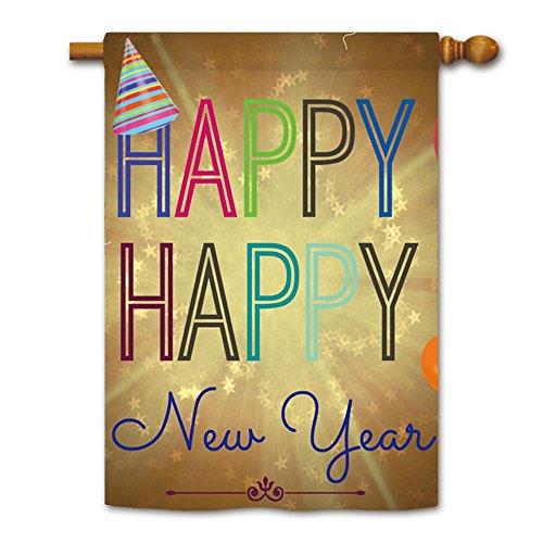 Kafepross Happy New Year Stripe Hat House Flag 28