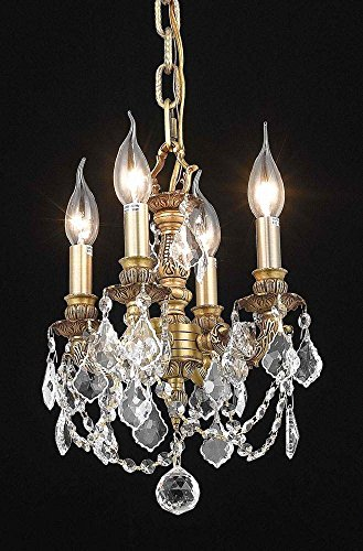 9104 Lille Collection Hanging Fixture D10in H10in Lt:4 French Gold Finish (Swarovski Spectra Crystal) by Elegant