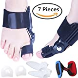 Bunion Splints Corrector Kit, Bunion Relief, Toe Separator Spacers, Big Toe Straightener, Bunion Cushion Pad for Hallux Valgus, Hammer Toe, Day& Night Support for Men Women, Comfortable Use (7 PCS)