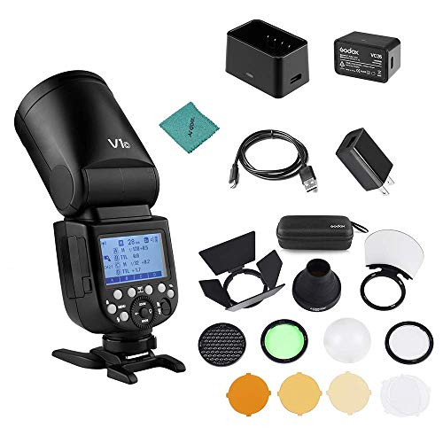 - Godox V1C Camera Flash Speedlite Speedlight Round Head for Canon EOS Series 1500D 3000D 5D Mark LLL 5D Mark ll for Wedding Portrait Studio Photography + Godox AK-R1 Pocket Flash Light Accessories Kit