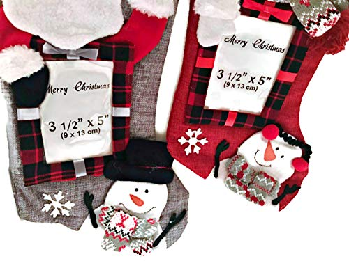 Photo Stocking Holder Frame - Winter Wonder Santa Claus & Frosty 3D Picture Frame Christmas Stocking 20inches