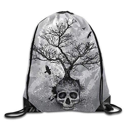 Unisex Skull Tree Flying Eagle Print Drawstring Backpack Rucksack Shoulder Bags Gym Bag Sport Bag
