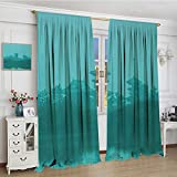 smallbeefly Asian Fabric Window Curtain Various Temples above the Sea Holy Tank in Fog Symbolic Faith Custom Pagoda Monochrome Customized Curtains 108''x96'' Turquoise