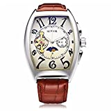 ALPS Man's Skeleton Tourbillon Self-wind Mechanical Automatic Watch with Brown Leather Band