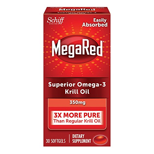 MegaRed 350mg Omega-3 Krill Oil - No fishy aftertaste as with Fish Oil, 30 softgels
