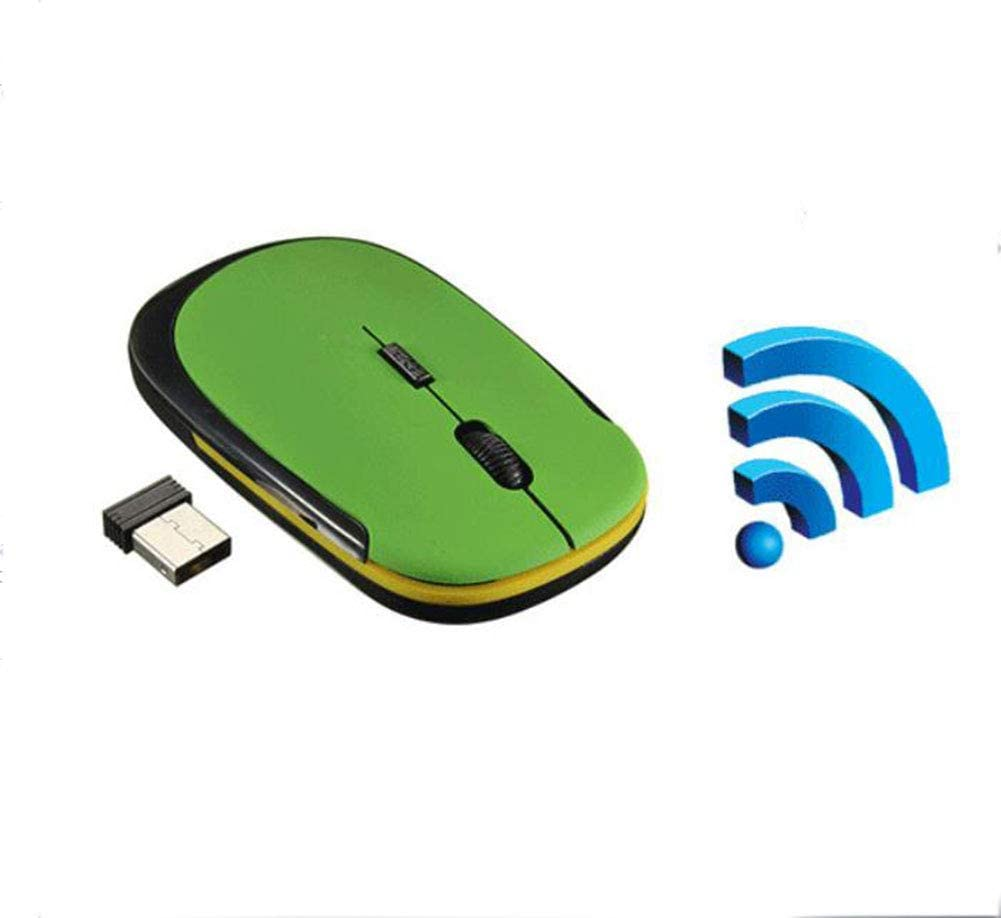 Green USB 2.0 Receiver Ergonomics Business Office 8PCS Mouse Ultra-Thin 2.4GHz Wireless Mouse