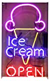 Desung Brand New 32'' Ice Cream Open Neon Sign (Multiple Sizes Available) Custom Restaurant Food Shop Neon Lights Lamp Sports Bar Beer Signs Glass Neon Light CA107