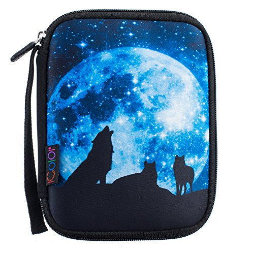 iColor Wolf Universal Electronic Accessories Bag Gear Storage Travel Cable Organizer for Cord, USB Flash Drive, Earphone and More (Single Layer) SOB-04]()