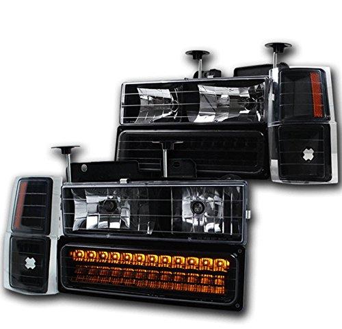 Crystal Silverado Headlights Chevy (ZMAUTOPARTS C/K C Silverado Suburban Crystal Headlight+LED Bumper+Corner Black/Amber)