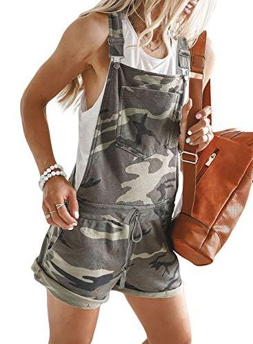 Shortalls Shorts - GOSOPIN Women Shortalls Jumpsuit Pocket Bib Short Overall X-Large Camouflage Brown
