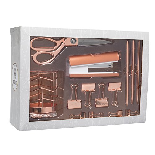 Rose Gold Desk Accessories | 7 Desktop Essentials (44 Items Total) | Office Supply Set & Organizer in Rose Gold Décor by Greenline Goods (Image #1)'
