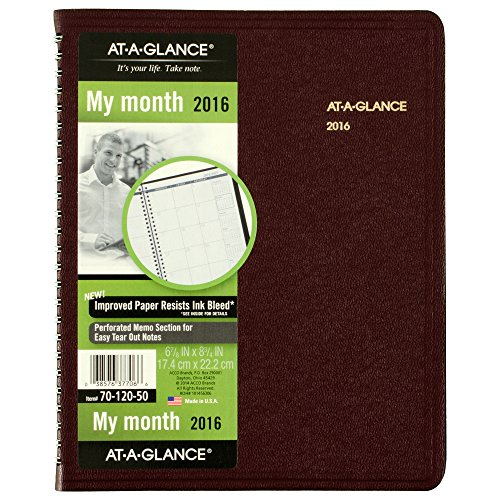 AT-A-GLANCE Monthly Planner 2016, 12 Months, 6.88 x 8.75 Inch Page Size, Winestone (7012050)
