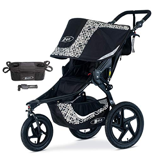 BOB Gear Revolution Flex 3.0 Jogging Stroller Bundle, Lunar Black with Handlebar Console and Tire Pump